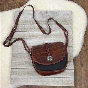 Brighton Vintage Black/Brown Leather Braided Bag